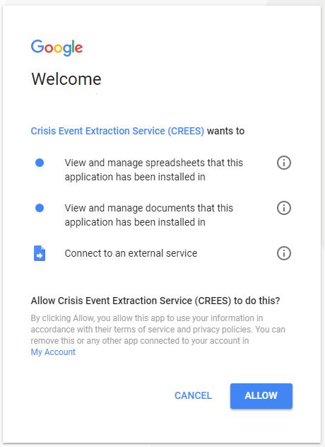 Google Sheets Authorisation.